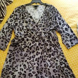 Grey leopard print Lane Bryant wrap dress.